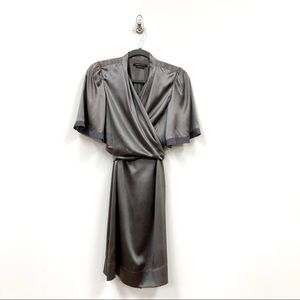BCBGMaxArzia 100% Silk Silver Wrap Dress